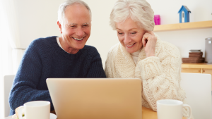 Elderly watching virtual summit online
