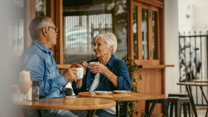 Elderly Couple Drinking Coffee